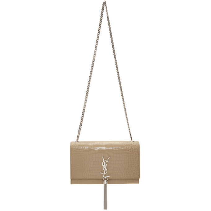 SAINT LAURENT BEIGE CROC MEDIUM TASSEL KATE CHAIN BAG
