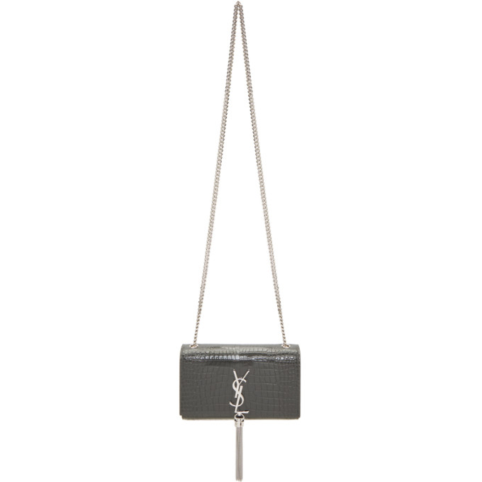 SAINT LAURENT GREY SMALL CROC KATE TASSEL CHAIN BAG