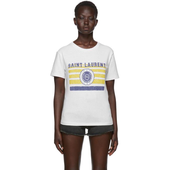 Saint Laurent University-Medallion On Stripes Crewneck Short-Sleeve Cotton T-Shirt In White