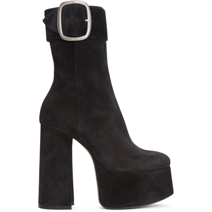 High Heel Platform Boots in Black