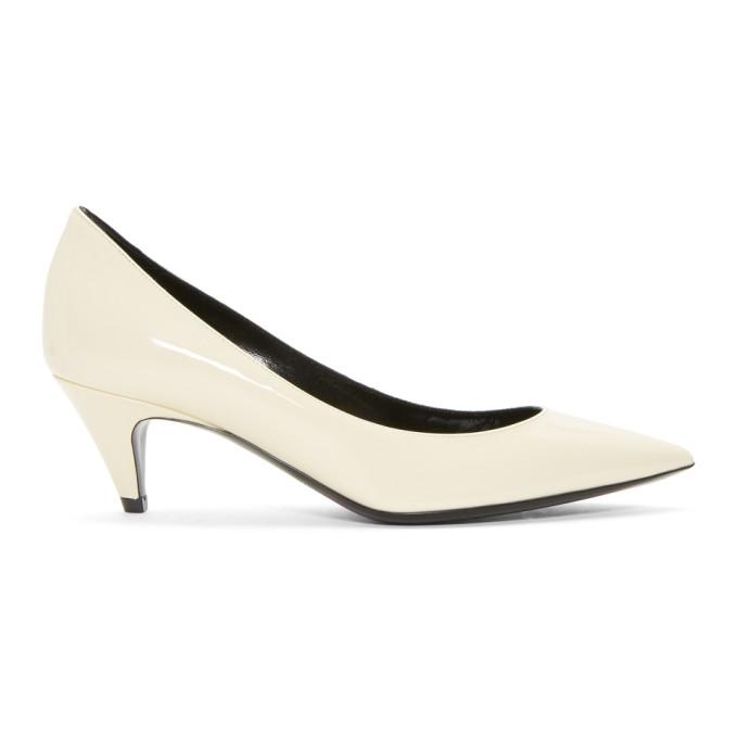 Saint Laurent White Patent Charlotte Heels
