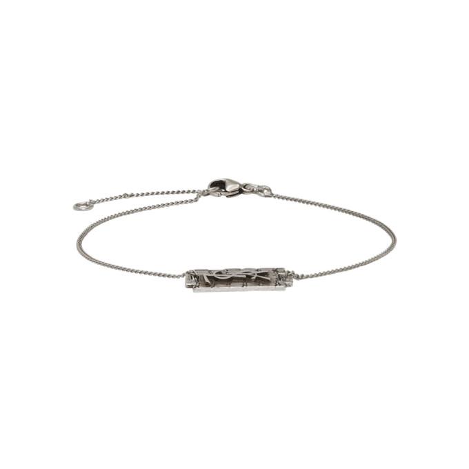 7ce288d855658 Saint Laurent Silver Logo Bracelet