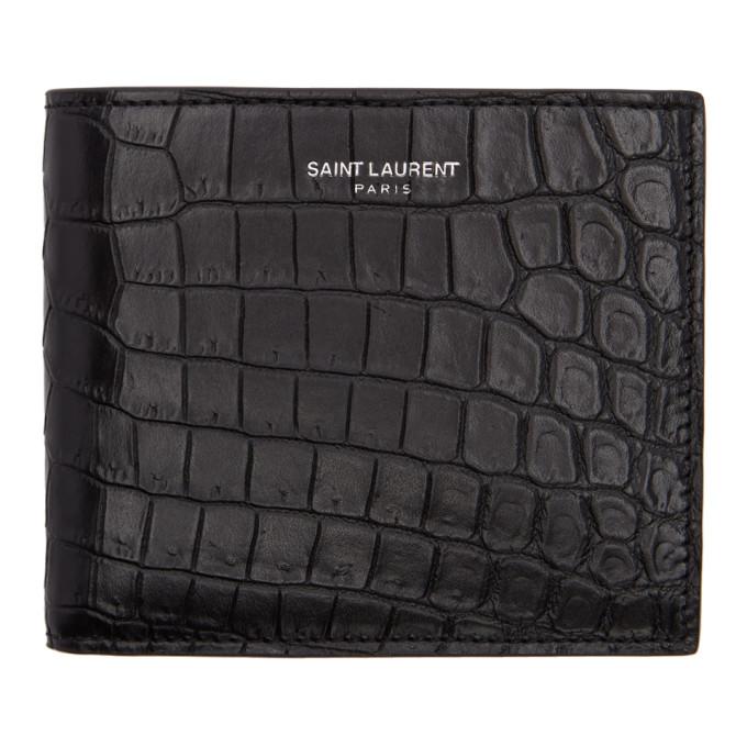 Saint Laurent Black Croc East/West Wallet