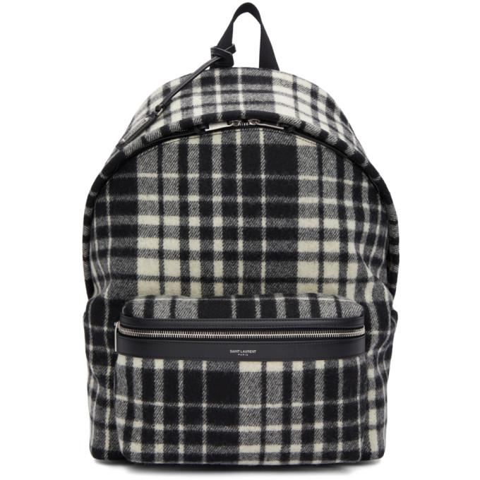 Saint Laurent Black & White Check City Backpack