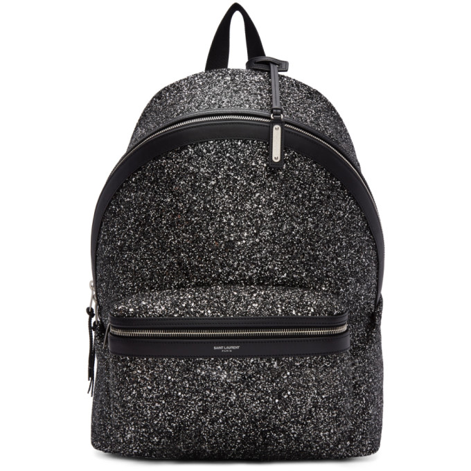 Saint Laurent Black & Silver Glitter City Backpack