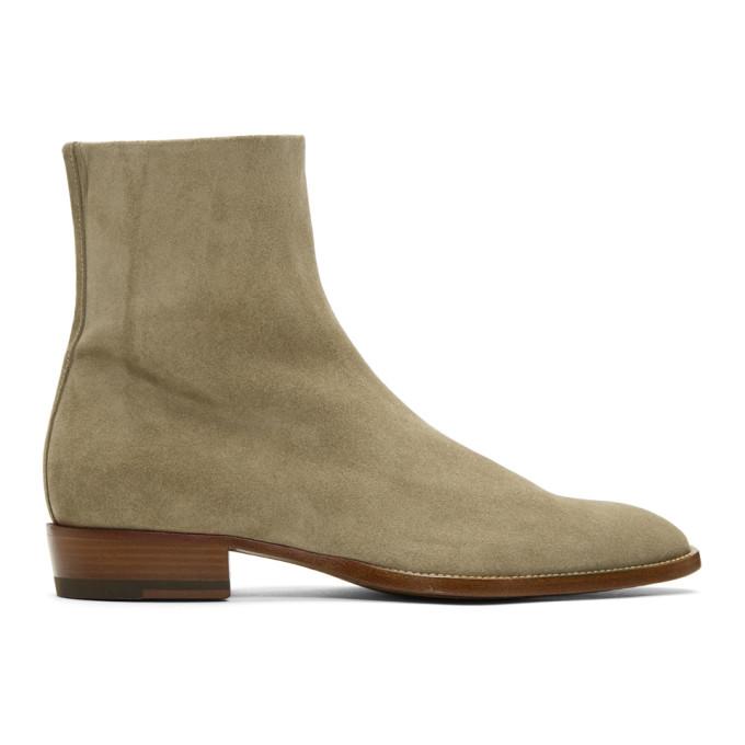 Saint Laurent Beige Suede Wyatt Boots