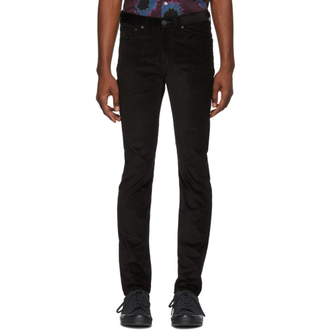 Image of PS by Paul Smith Black Corduroy Slim Trousers