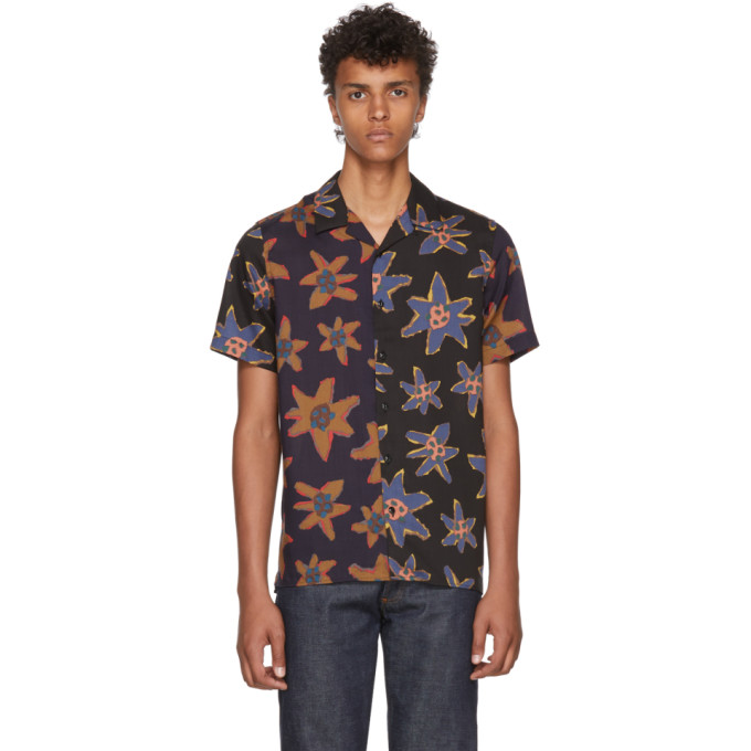 Ps By Paul Smith Black Mixed Flower Print Casual Shirt