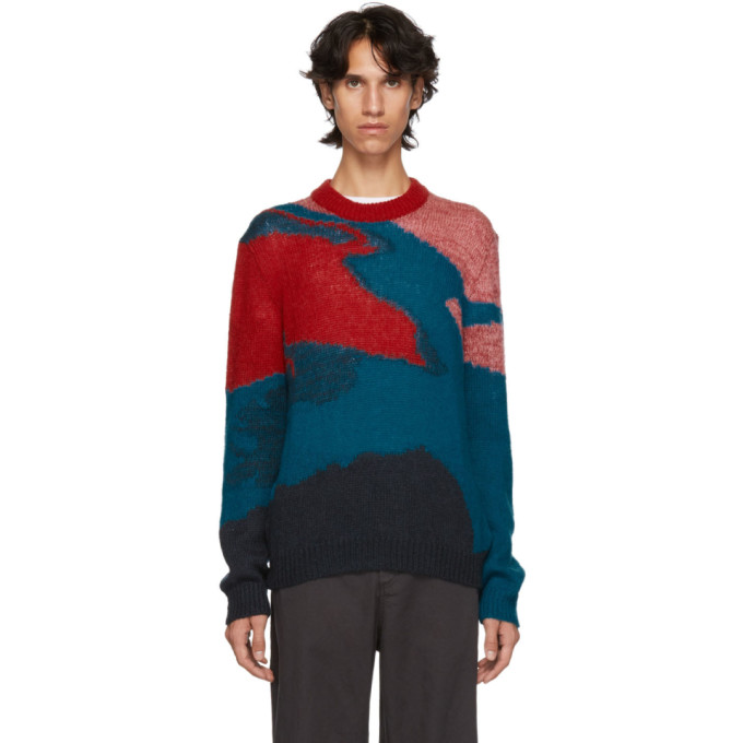 771e18bb42f PS by Paul Smith Red Multicolor Multipattern Crewneck Sweater