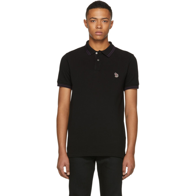 Ps By Paul Smith Black Slim Fit Striped Polo
