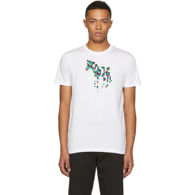 Ps By Paul Smith White Slim Fit Zebra T Shirt