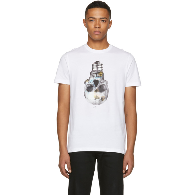Ps By Paul Smith White Slim Fit Skull T Shirt
