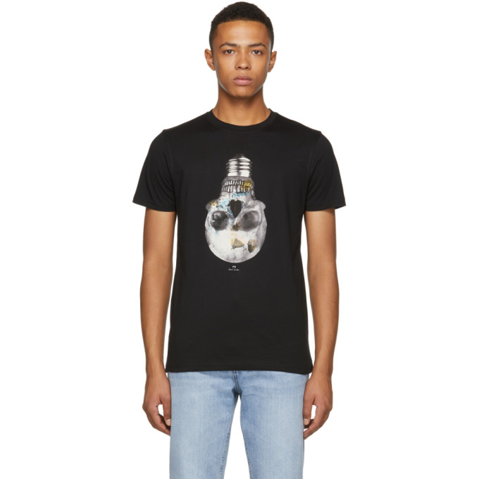 Ps By Paul Smith Black Slim Fit Skull T Shirt