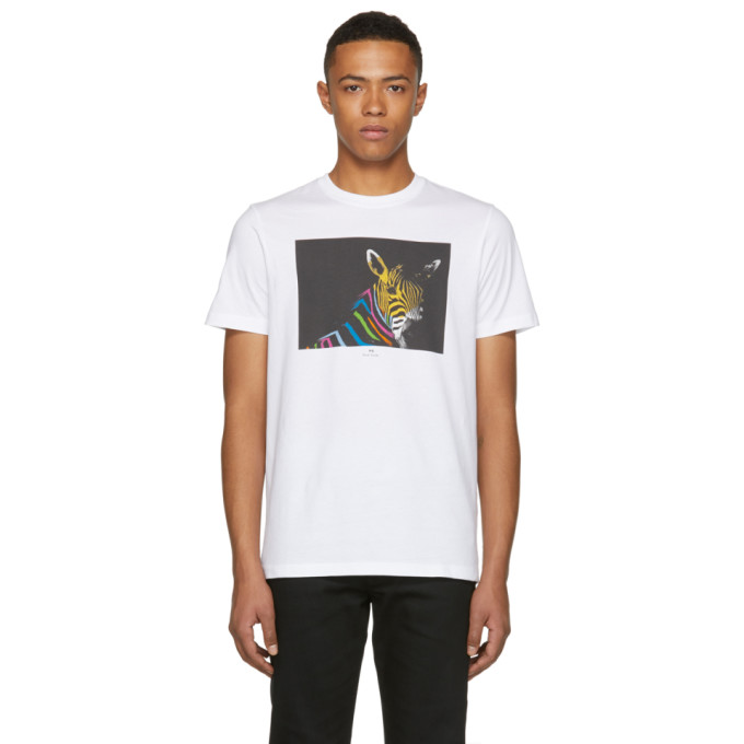 Ps By Paul Smith White Slim Fit Large Zebra T Shirt