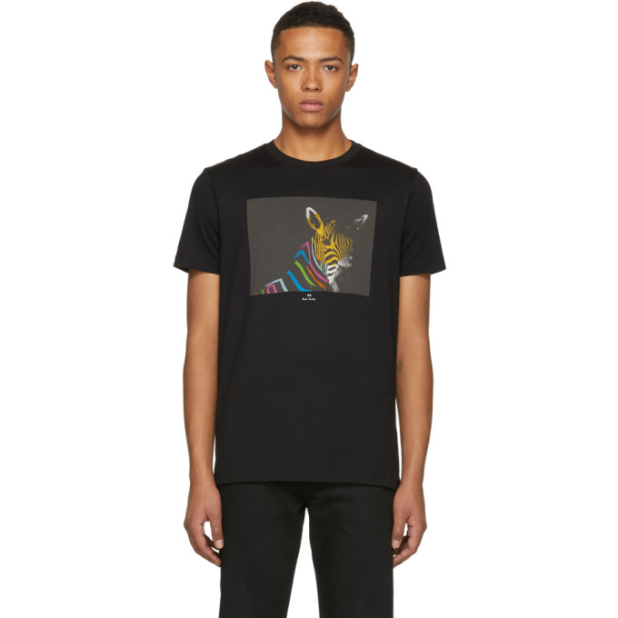 Ps By Paul Smith Black Slim Fit Large Zebra T Shirt