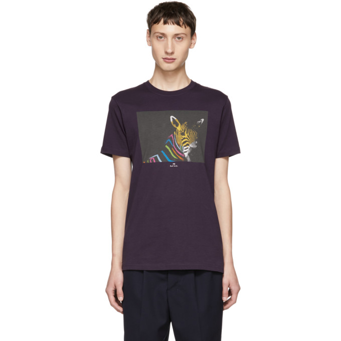 Ps By Paul Smith Purple Organic Zebra T Shirt