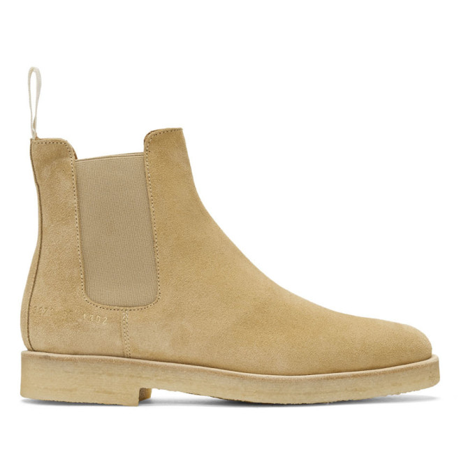 Woman by Common Projects Tan Suede Chelsea Boots
