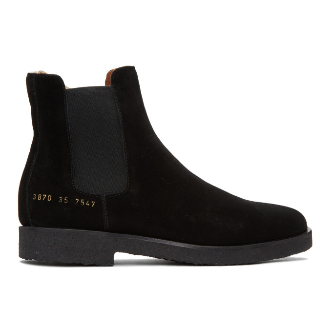 Woman by Common Projects Black Suede Chelsea Boots