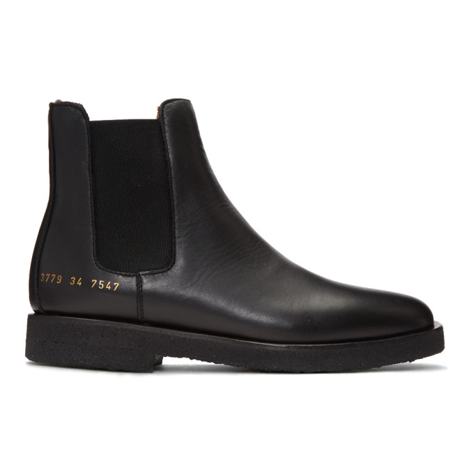 Woman by Common Projects SSENSE Exclusive Black Leather Chelsea Boots