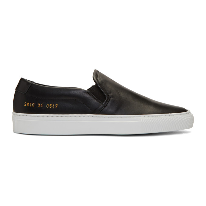 Woman by Common Projects Black Leather Slip-On Sneakers