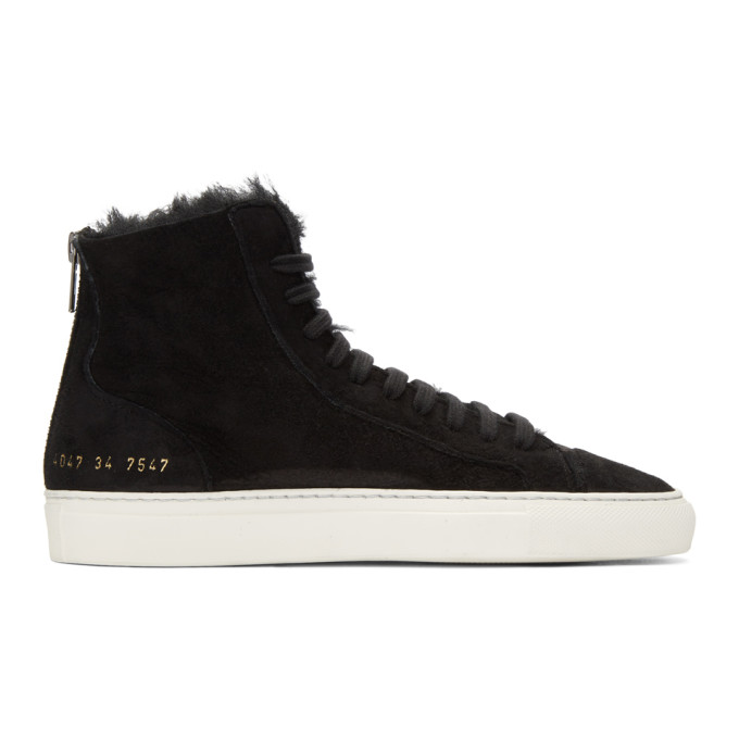 Woman by Common Projects SSENSE Exclusive Black Shearling Tournament High-Top Sneakers