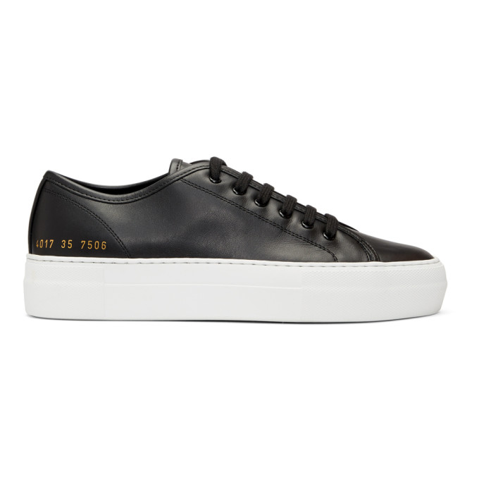 Woman by Common Projects Black & White Tournament Low Super Sneakers