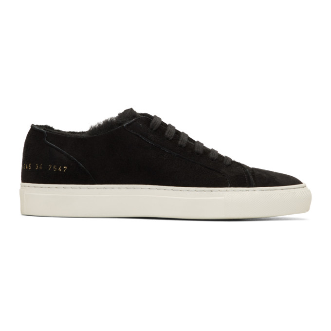Woman by Common Projects SSENSE EXCLUSIVE Black Shearling Tournament Sneakers