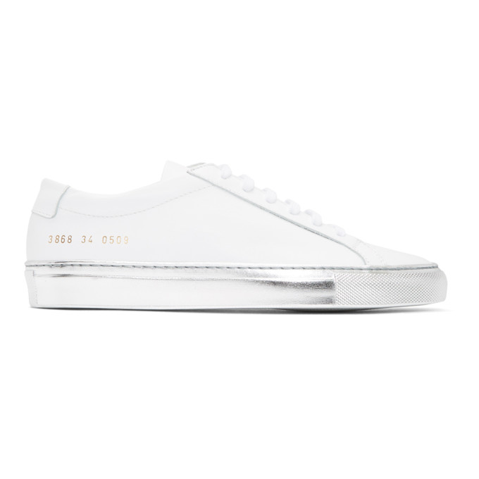 Woman by Common Projects White & Silver Achilles Low Sneakers