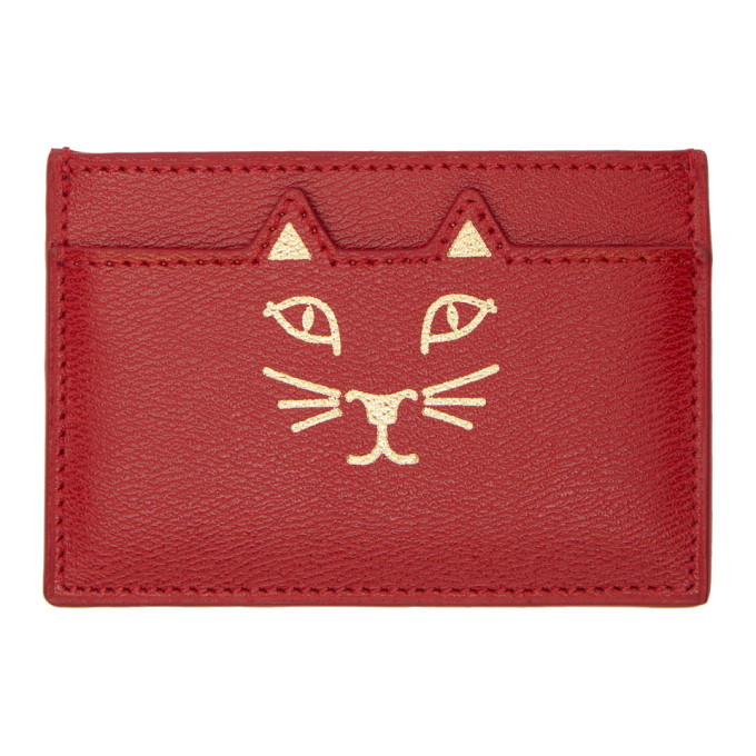 Charlotte Olympia CHARLOTTE OLYMPIA SSENSE EXCLUSIVE RED FELINE CARD HOLDER