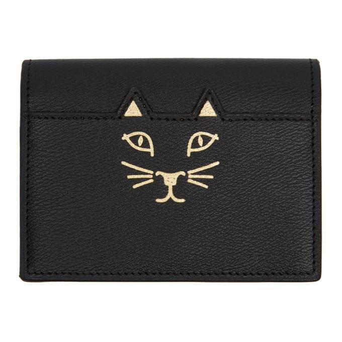 Image of Charlotte Olympia Black Feline Card Wallet