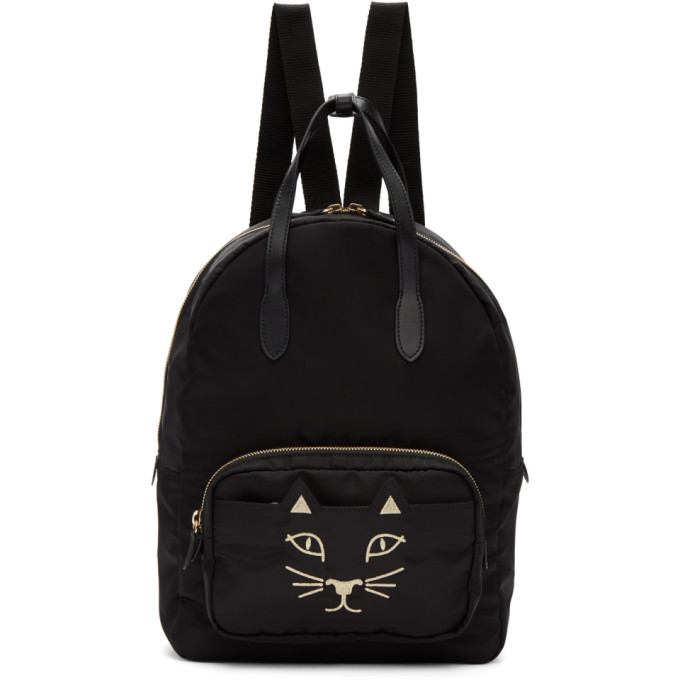 Image of Charlotte Olympia Black Nylon Feline Backpack