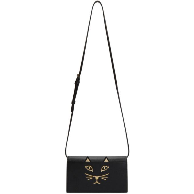 Image of Charlotte Olympia Black Feline Shoulder Bag