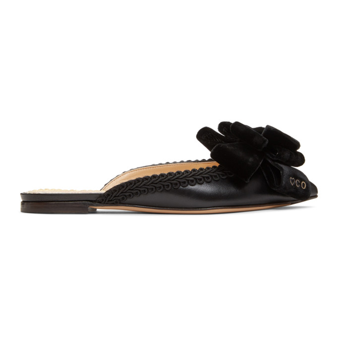 Charlotte Olympia Black Coquetta Slippers