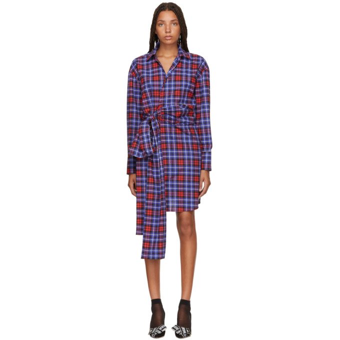 d0eaabf9b MSGM Red and Blue Plaid Shirt Dress