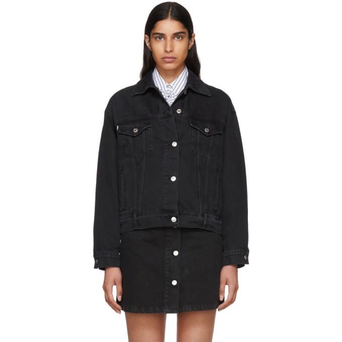 MSGM Black Washed Denim Jacket