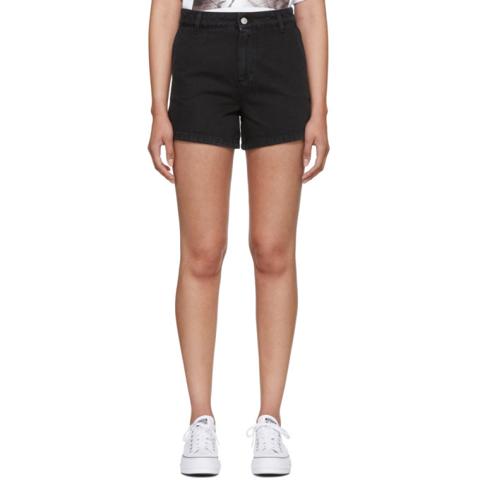 MSGM Black Washed Denim Micro Logo Shorts