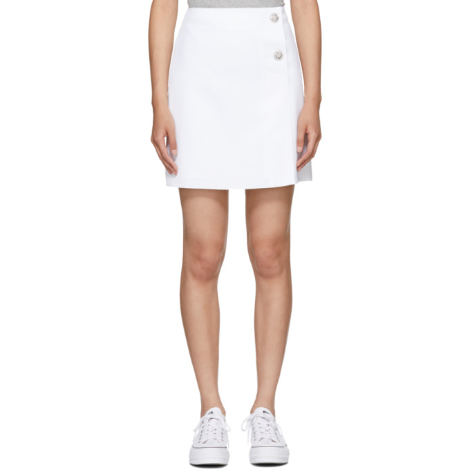 MSGM White Crystal Buttoned Miniskirt