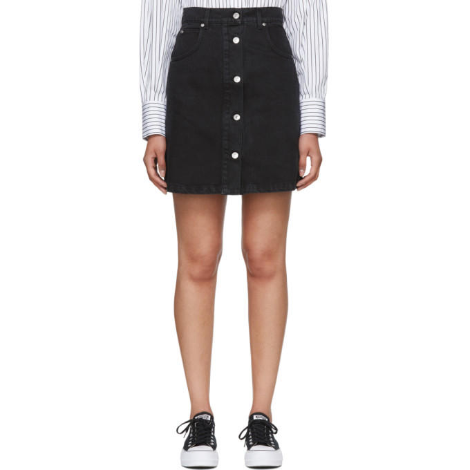 MSGM Black Washed Denim Micro Logo Skirt