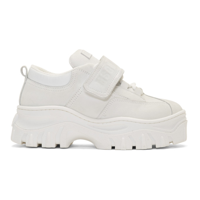 MSGM White Suede Double Sole Sneakers
