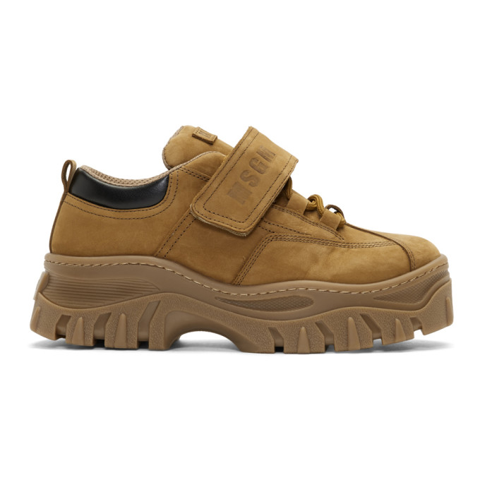 MSGM Tan Suede Strap Chunky Double Sole Sneakers