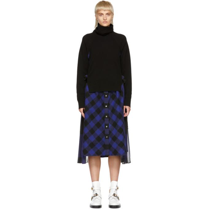 Image of Sacai Black & Blue Buffalo Check Turtleneck Dress