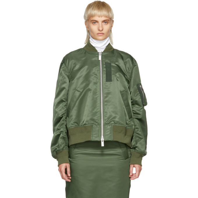 Zipped Bomber Jacket in Green