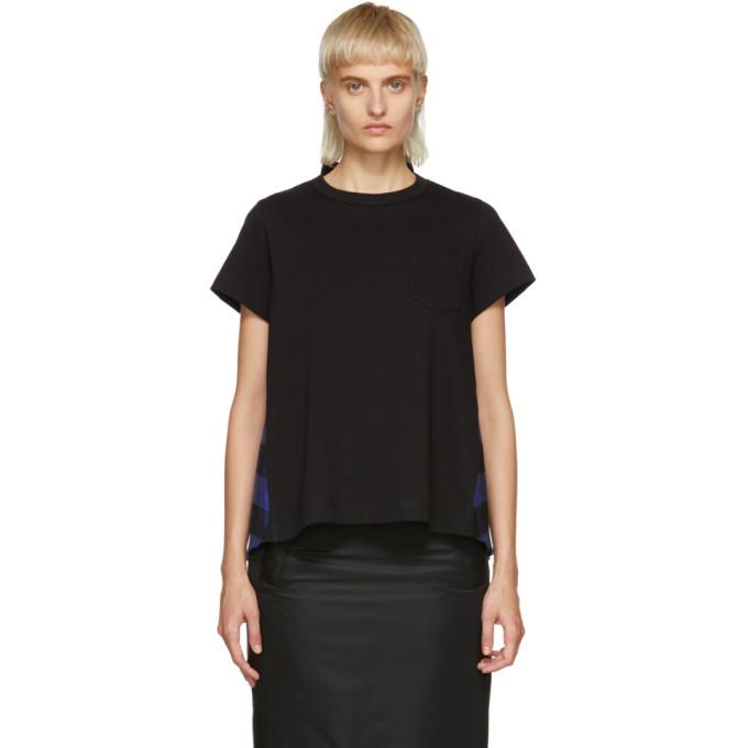 Image of Sacai Black & Blue Buffalo Check T-Shirt
