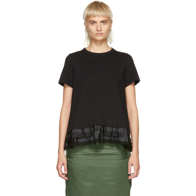 Image of Sacai Black Cotton Jersey T-Shirt