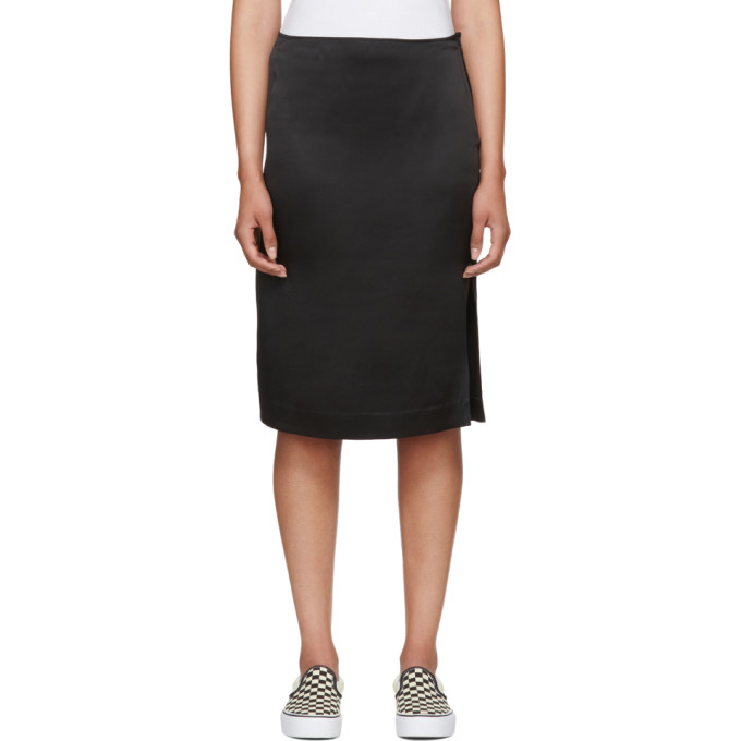 Image of 6397 Black Silk Side Slit Skirt