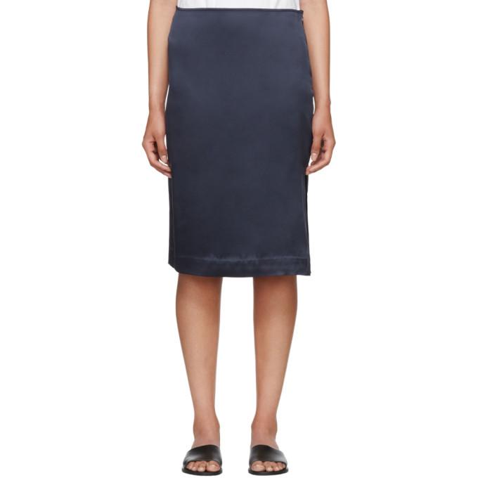 Image of 6397 Navy Silk Side Slit Skirt