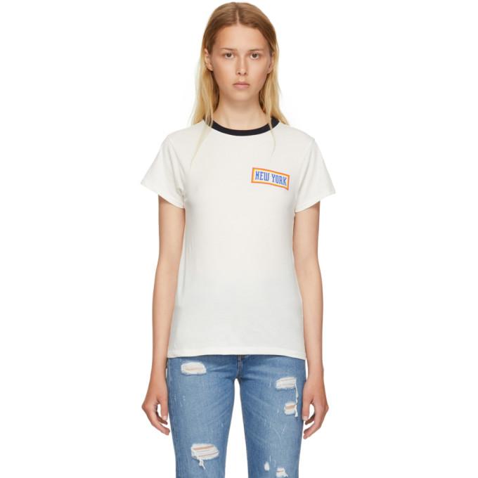 Image of 6397 White 'New York' Ringer T-Shirt