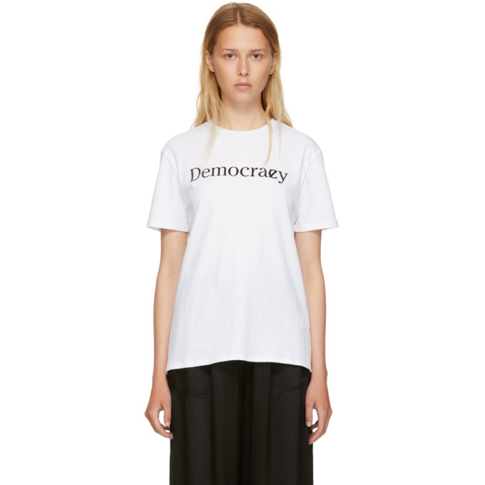 Image of 6397 White 'Democracy' T-Shirt
