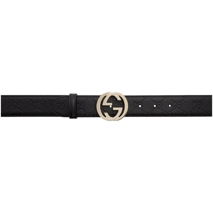 GUCCI BLACK GUCCI SIGNATURE INTERLOCKING GG BELT
