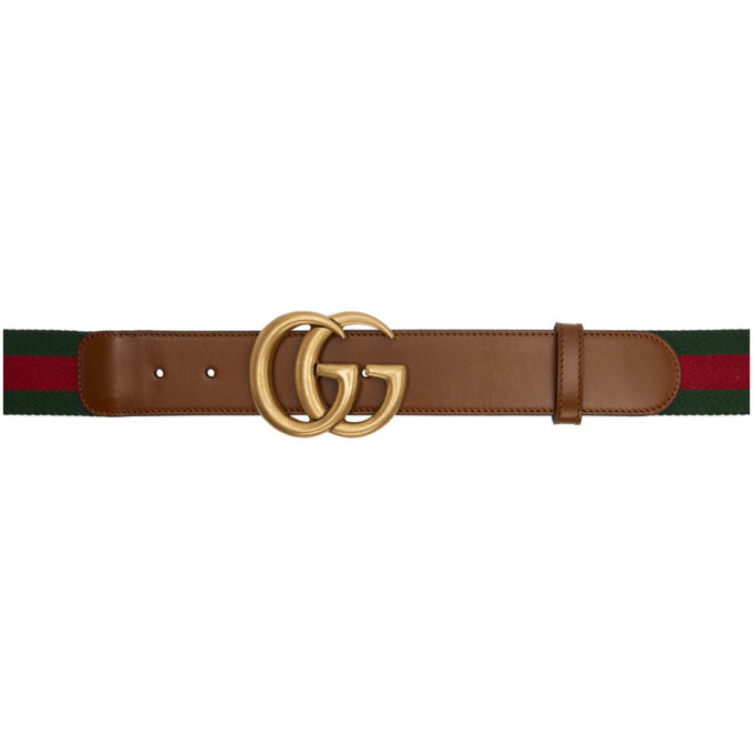 Gucci Brown Web GG Belt